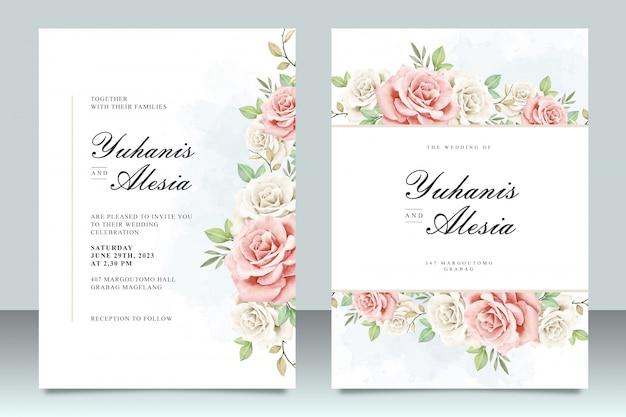 Plantilla de invitación de boda con hermosas flores y hojas