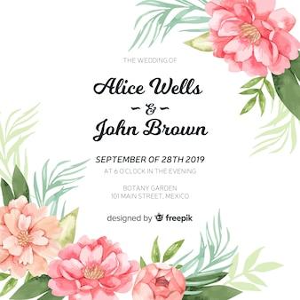 Plantilla de invitación de boda con hermosas flores peonía de acuarela