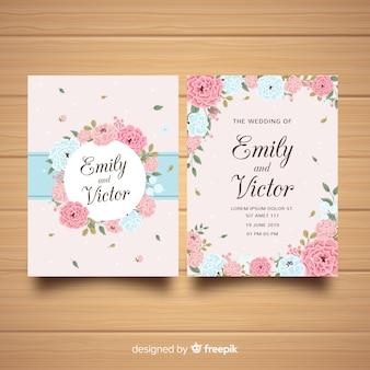 Plantilla de invitación de boda con hermosas flores peonía