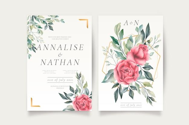 Plantilla de invitación de boda con hermosas flores