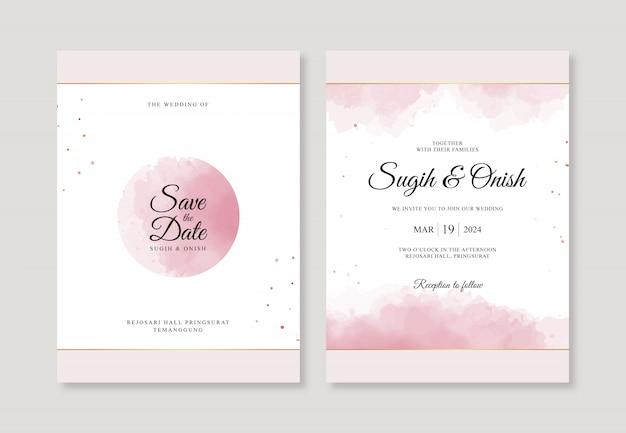 Plantilla de invitación de boda con hermosas salpicaduras de acuarela