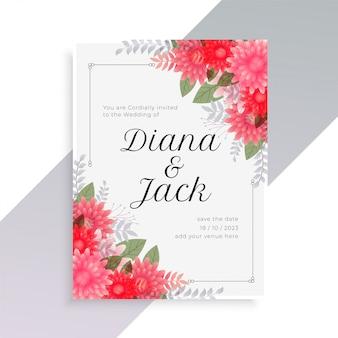 Plantilla de invitación de boda con hermoso arte floral