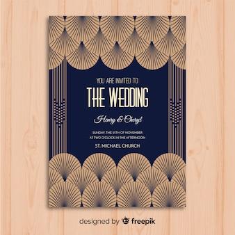 Plantilla de invitación de boda con hermoso concepto art deco