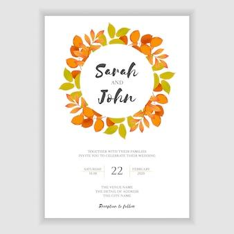 Plantilla de invitación de boda de hoja de otoño