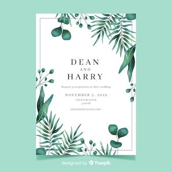 Plantilla de invitación de boda con hojas de acuarela
