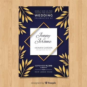 Plantilla de invitación de boda con hojas doradas