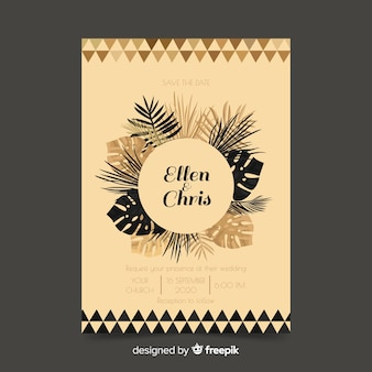 Plantilla de invitación de boda con hojas de palmera