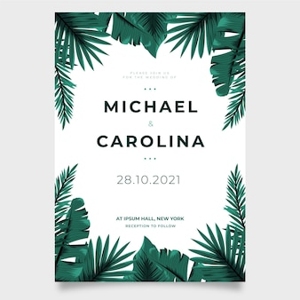 Plantilla de invitación de boda con hojas tropicales