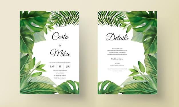 Plantilla de invitación de boda de hojas verdes dibujadas a mano
