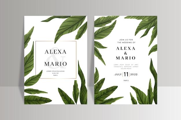 Plantilla de invitación de boda con hojas