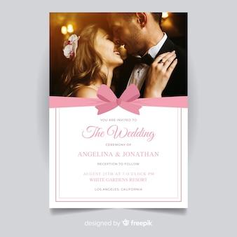 Plantilla de invitación de boda con imagen