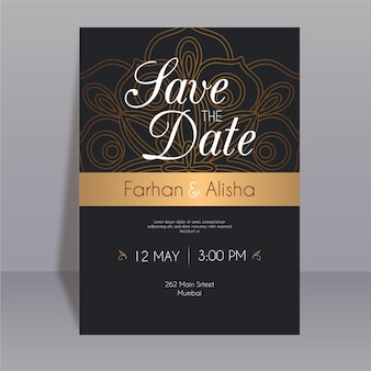 Plantilla de invitación de boda india
