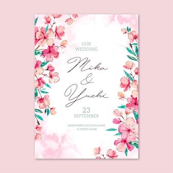 Plantilla de invitación de boda japonesa floral