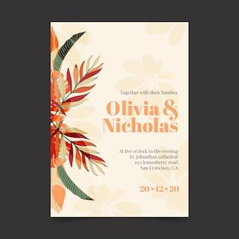 Plantilla de invitación de boda ligera con adornos florales