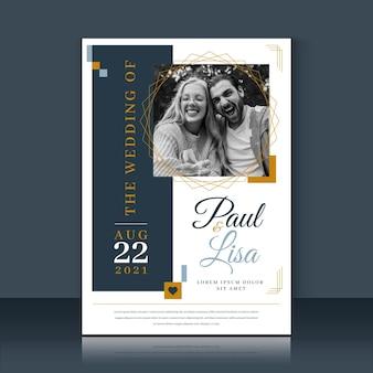 Plantilla de invitación de boda linda pareja