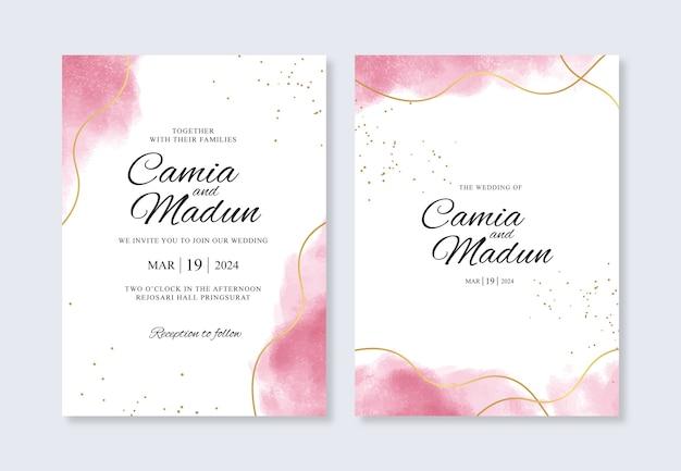 Plantilla de invitación de boda con línea dorada y salpicaduras de acuarela