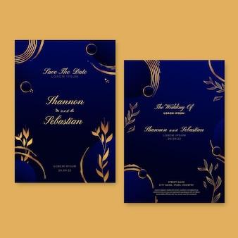 Plantilla de invitación de boda de lujo dorado degradado