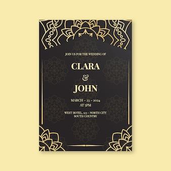 Plantilla de invitación de boda de lujo dorado