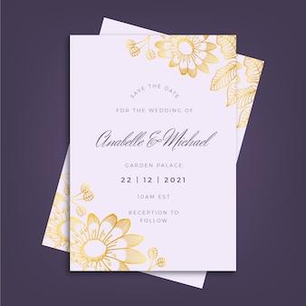 Plantilla de invitación de boda de lujo con elementos dorados