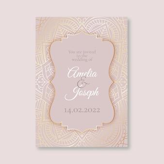 Plantilla de invitación de boda de lujo rosa