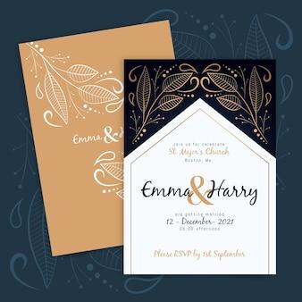 Plantilla de invitación de boda de lujo