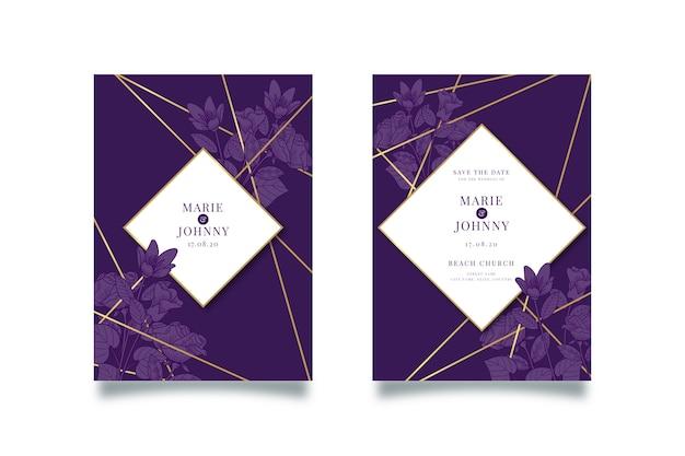 Plantilla de invitación de boda lujosa con líneas doradas