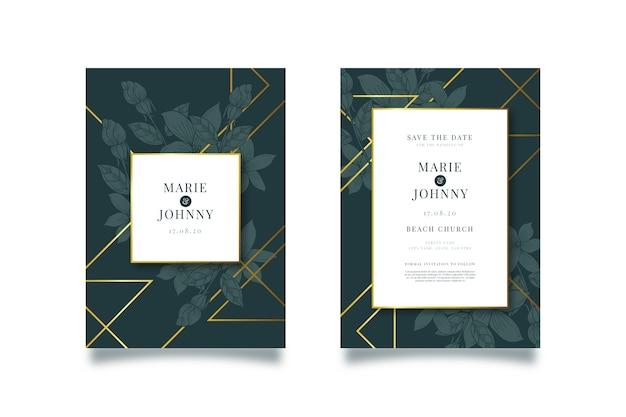 Plantilla de invitación de boda lujosa