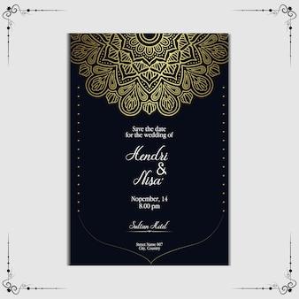 Plantilla de invitación de boda de mandala de lujo.