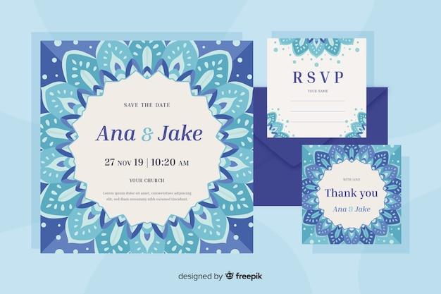 Plantilla de invitación de boda mandala