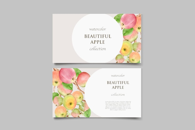 Plantilla de invitación de boda de manzana dibujada a mano