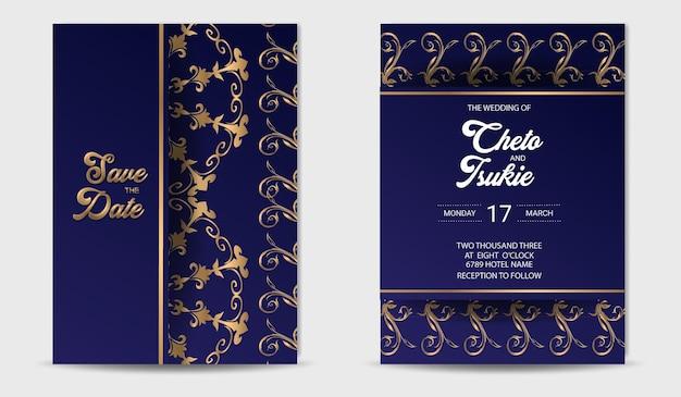 Plantilla de invitación de boda con marco dorado de lujo