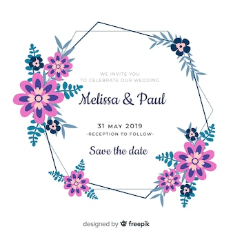 Plantilla de invitación de boda marco floral