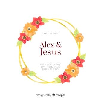 Plantilla de invitación de boda con marco floral