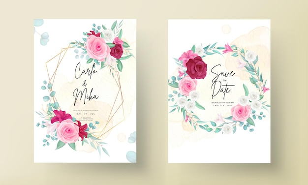Plantilla de invitación de boda con marco de flores hermosas dibujadas a mano