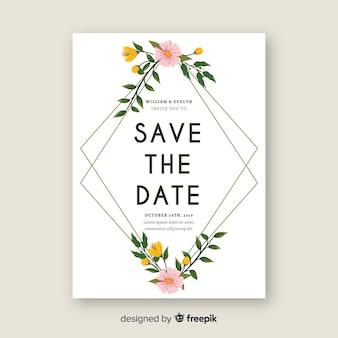 Plantilla de invitación de boda con marco de flores