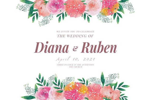 Plantilla de invitación de boda marcos florales