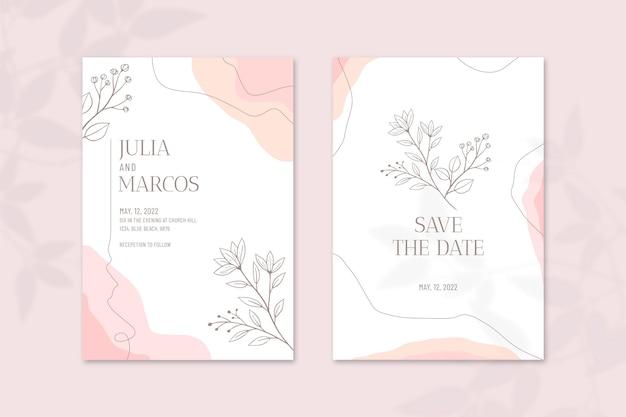 Plantilla de invitación de boda mínima dibujada a mano de grabado