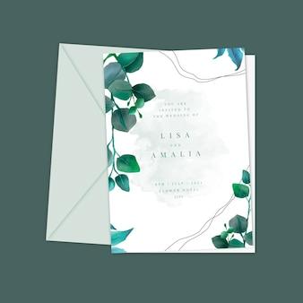 Plantilla de invitación de boda mínima dibujada a mano