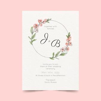 Plantilla de invitación de boda minimalista en acuarela pintada a mano
