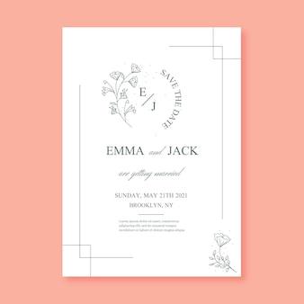 Plantilla de invitación de boda minimalista dibujada a mano