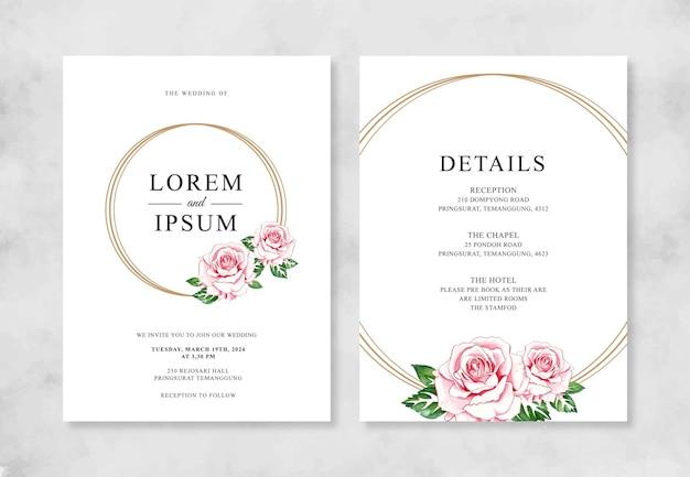 Plantilla de invitación de boda minimalista con flor de acuarela pintada a mano