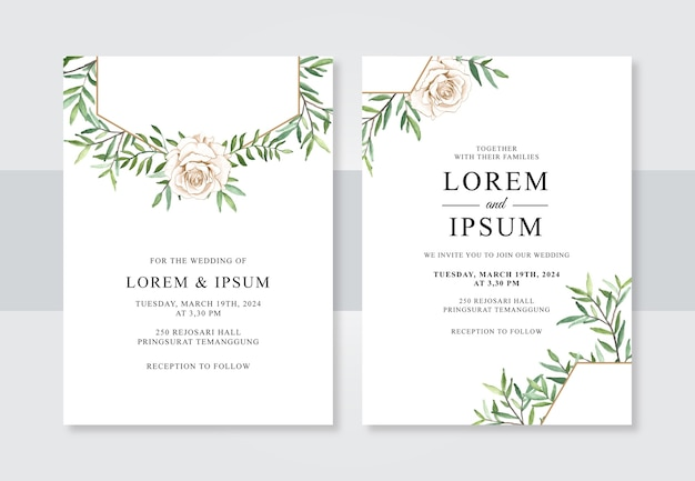 Plantilla de invitación de boda minimalista con flores de acuarela dibujadas a mano