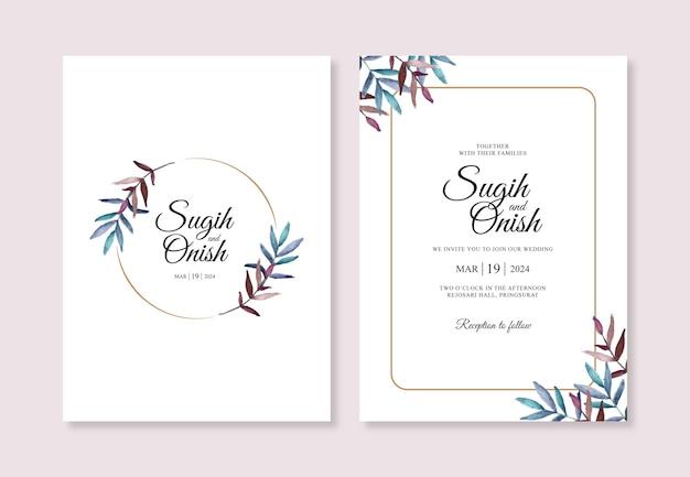 Plantilla de invitación de boda minimalista con hojas de acuarela pintadas a mano