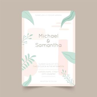Plantilla de invitación de boda minimalista plana orgánica