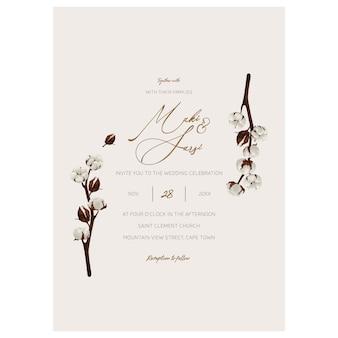 Plantilla de invitación de boda minimalista.