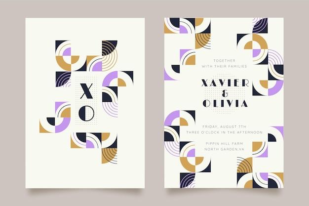 Plantilla de invitación de boda de mosaico plano