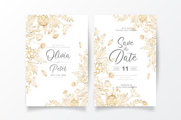 Plantilla de invitación de boda con naturaleza dorada