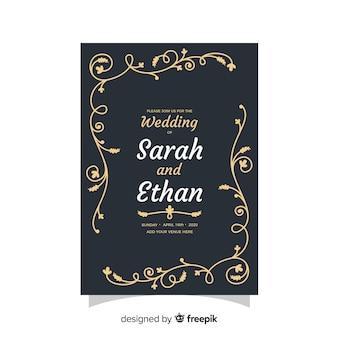 Plantilla de invitación de boda negra con diseño retro