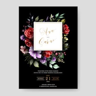 Plantilla de invitación de boda negro con hojas florales de acuarela