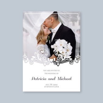 Plantilla de invitación de boda con novio y novia
